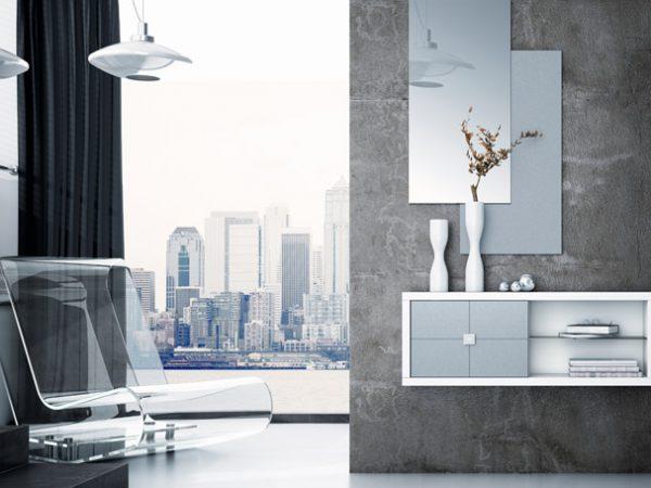 Recibidor consola y espejo color blanco frentes lacados plata 240€