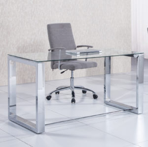 Office patas cromo 300x297 - Mesa despacho VIENA