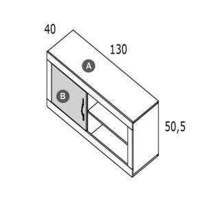 CNM201 Bajo 1 puerta 2 huecos de 130 300x300 - Bajo TV con puerta y huecos RIVER