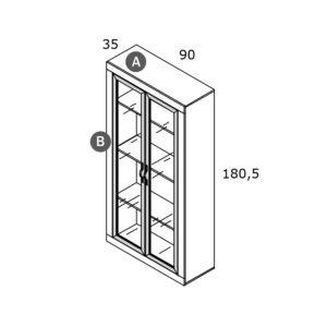 CNM234 Vitrina 2 puertas transparentes de 181x90 300x300 - Ambiente de salón RIVER 4