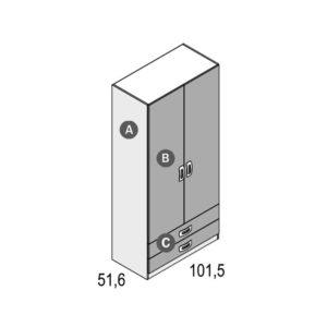 105 1 300x300 - Armario 2 puertas + 2 cajones 100 cm GAMES