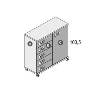 146R 300x300 - Cómoda 5 cajones + 1 puerta GAMES con ruedas