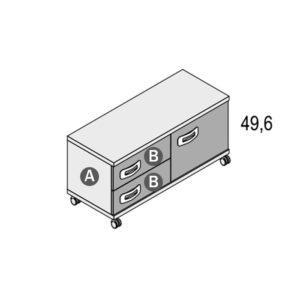 147R 300x300 - Cómoda 2 cajones + 1 puerta GAMES con ruedas