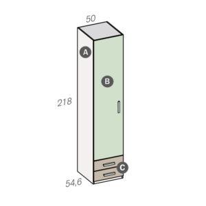14DI 300x300 - Armario de 1 puerta con 2 cajones Fantasy