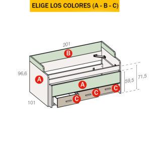 465R 1 300x300 - Compacto con cama desplazale oculta y 3 contenedores Fantasy