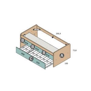 CNL068 2 300x300 - Compacto con 3 cajones intermedios PARCHIS y cama nido inferior