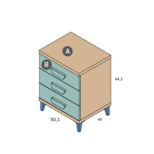 CNL100 300x300 - Mesita de 3 cajones PARCHIS con patas