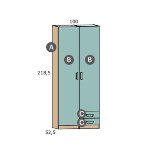CNL200 300x300 - Armario 2 puertas y 2 cajones PARCHIS